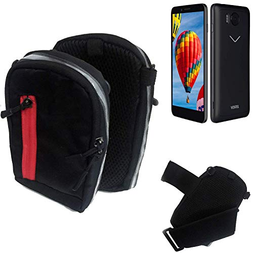 K-S-Trade Outdoor Gürteltasche Umhängetasche für Vestel V3 5580 schwarz Handytasche Case travelbag Schutzhülle Handyhülle