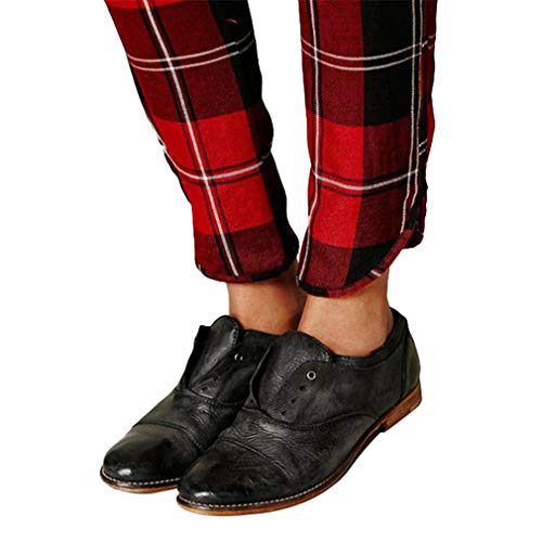Schuhe für Frauen Retro Runder Kopf Flache Schuhe Volltonfarbe Freizeitschuhe Elegant Schnürschuhe Loafers Erbsenschuhe Schwarz Braun EU 35-43