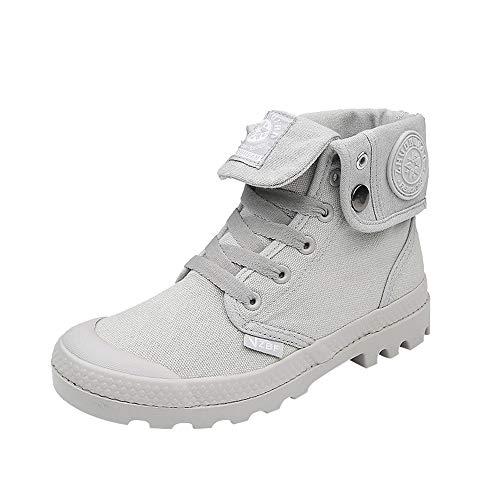 674011fea611de SANFASHION Chaussures Montantes à Lacets Femme Basket Militaire  Décontractées Cheville Sneakers Classique Automne Hiver(Gris