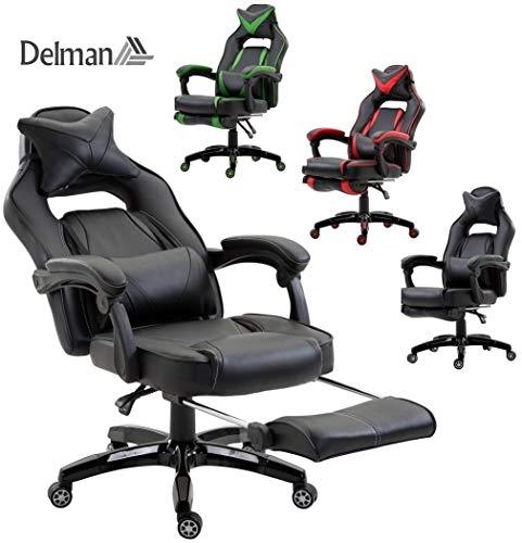 Delman XXL Racing Bürostuhl Schreibtischstuhl Gaming Chair Drehstuhl Höhenverstellbar mit Fußstütze Fußablage mit Armlehnen Chefsessel Große Sitzfläche Dicke Polsterung 11 cm RS0019BK