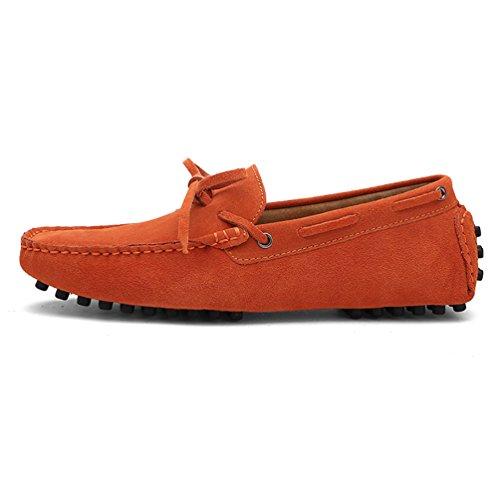 Baymate Unisexe Loafers Chaussures à Enfiler Chaussures Bateau Pour Conduite Orange