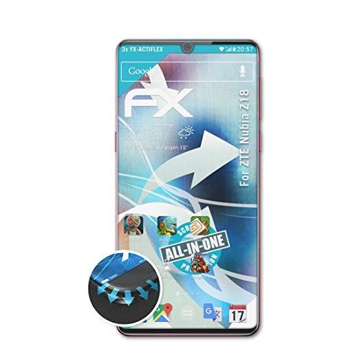 atFolix Schutzfolie passend für ZTE Nubia Z18 Folie, ultraklare & Flexible FX Bildschirmschutzfolie (3X)