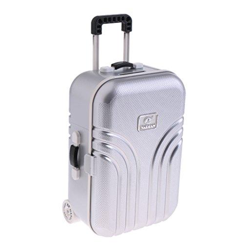 r Koffer Gepäck Fall Puppenzubehör für Salon Blythe Puppen Haus Dekoration - Silber ()