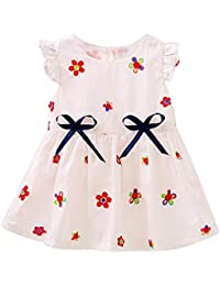 Covermason Bebé Niñas Casual Flores Bordado Impresión Princesa Vestidos