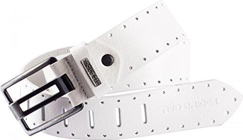 Redbridge by Cipo & Baxx Herren Leder Gürtel Belt 9410 weiß, schwarz