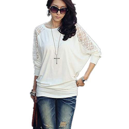 (JiaMeng Ladies Plus Version Fledermausärmel Spitzennaht Langarm T-Shirt)