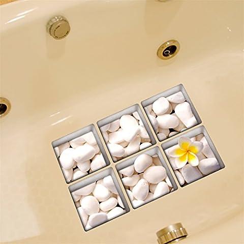 Stillshine 6 Pcs Creative 3D Anti Slip Waterproof Bath Tub Stickers Tub Decals Tub Appliques Tub Tattoos Bathtub Decoration (White With Flower)