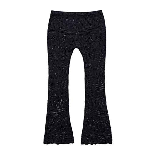 ♫ LSAltd ☪ Pantalones para Mujeres en Verano Pantalones Largos de Encaje Ahuecado Cómoda Pantalones de Color Sólido Elegante Ropa de Moda
