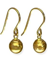 Pendientes Colgantes Largos de Oro Amarillo de 9 Quilates en Forma de Bola