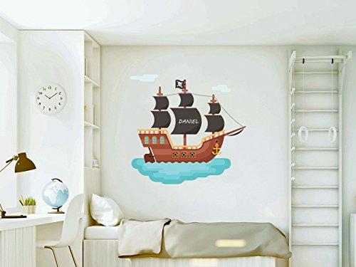 Vinilo decorativo pared Infantil | Barco Pirata Personalizado | Varias Medidas 100x100cm | Adhesivo Resistente y de Facil Aplicación | Multicolor | Pegatina Adhesiva Decorativa de Diseño Elegante