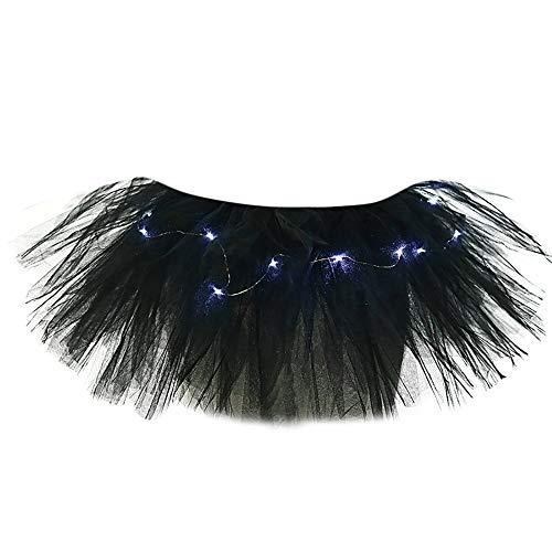 cinnamou Rock, Damen 5-Schichten-Mesh-Tüllrock Princess Skirt mit LED Small BulbSkirt, Damen 5-Lagen-Gaze-Kleid Minirock mit ()