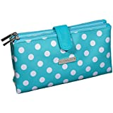 Audacity Turquoise Blue and White Polka Dot Double Pocket Cosmetic Purse Make-up Bag