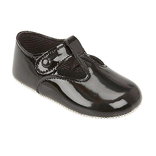 Mellow Ser, Pintura Preta Sapatos Meninos Walker Black 0-3 Meses