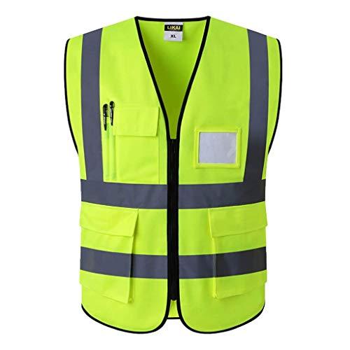 ZAIHW Konstruktionsweste Warnschutzweste mit reflektierenden Streifen und Reißverschluss (Color : Yellow, Size : L)