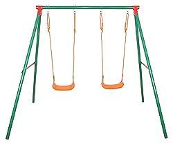 Sportplus Kinderschaukel mit 2 höhenverstellbaren Schaukeln, wetterbeständige Gartenschaukel für Kinder, inkl. Montageset & Bodenanker, Schaukel ab 3 Jahre bis 70kg, TÜV GS-geprüft nach Spielzeugnorm