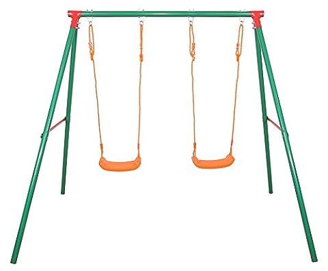 SportPlus Kinder Doppelschaukelgerüst mit zwei Brettschaukeln, Sicherheitstest nach EN 71, Modell 2017, (Smoby Kletterturm)