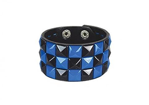 3 Row Black And Blue Pyramid Stud Wristband/Wrist