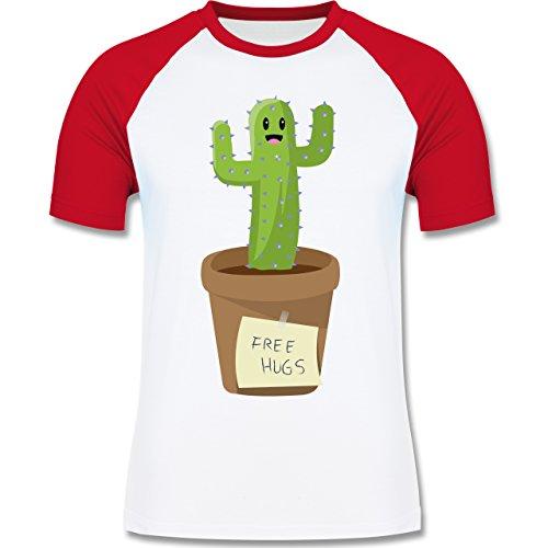 Statement Shirts - Free Hugs - zweifarbiges Baseballshirt für Männer Weiß/Rot