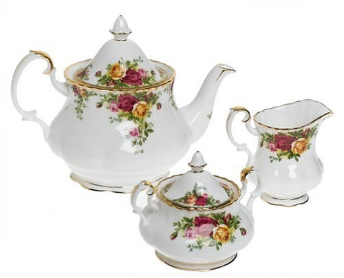 Royal Albert Old Country Roses OLD COUNTRY ROSES 3-PIECE TEA SET (TEAPOT, SUGAR & CREAMER) One Size gold -