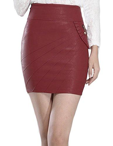 Helan Donna Side Fiore Pocket gonne di pelle corto PU sottili Rosso
