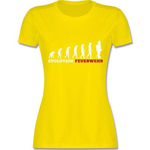 Shirtracer Feuerwehr - Evolution Feuerwehr - Damen T-Shirt Rundhals Lemon Gelb