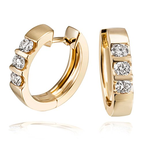 goldmaid Gelb Gold 585 Memoire Creolen 6 Diamanten 0,40 ct.