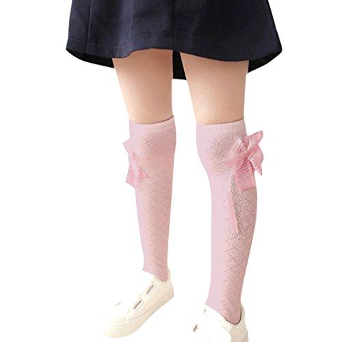 CHIC-CHIC Mädchen Strümpfe Schleife Trachtenstrümpfe Kniestrümpf Knielang elastische Socken Stockings Leggings Prinzessin (Rosa)