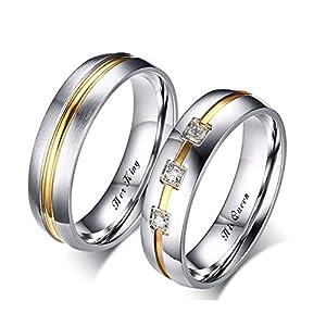 Beydodo 2 Herren Damen Verlobungsringe His Queen Her King Zirkonia Partnerring Ehering Edelstahl Ringe Silber