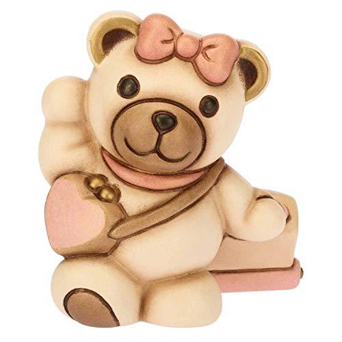 Thun® - orsetto teddy piccolo con dettagli rosa - bomboniere battesimo - ceramica - linea teddy lei