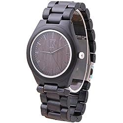 mercimall® Mans Eco Friendly Holz Uhren mit Sandelholz Harz Armband Schwarz