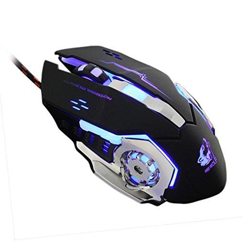 yjm Wired LED Light 4.000Optische USB Ergonomisches Pro Gamer Gaming Maus Metall Teller schwarz schwarz (Rad-schlüssel (wired Mouse)