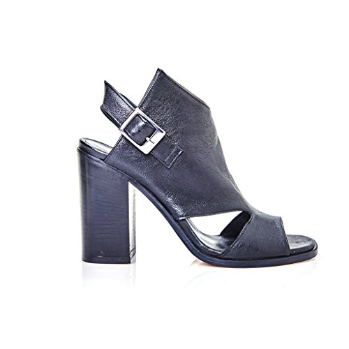sandalo tacco accollato pelle nero donna modello ixos made in italy
