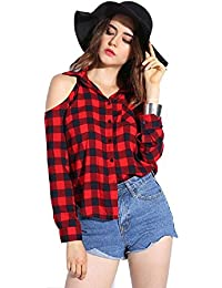 a6766e0c09e86 POISON IVY women s Checkered Long Sleeves Cold Shoulder Red-Black Shirt