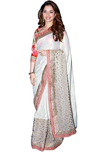 Tamanna Bhatia White Satin Silk Saree  available at amazon for Rs.2050