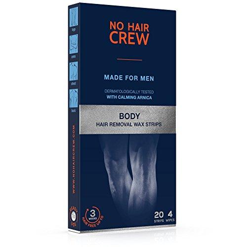 NO HAIR CREW Premium Kaltwachsstreifen für den Körper - Haarentfernungs-wachs für Männer, 20 Wachsstreifen & 4 Pflegetücher