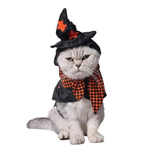 (Jerome10Dan Haustier-Hut, Puppy Cat Dog Performance Kostüme Zauberer-Hut Kalt-Beweis Warm Halloween Plaid Kragen Hoodie Tartan)