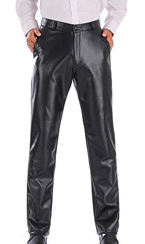 Duolunjindun Hombre Pantalones Largos de cuero con Forro Espesado Cálido Para Invierno Evitar el Viento Negro Ocio Pantalón Resistente al Agua - Talla EU 50