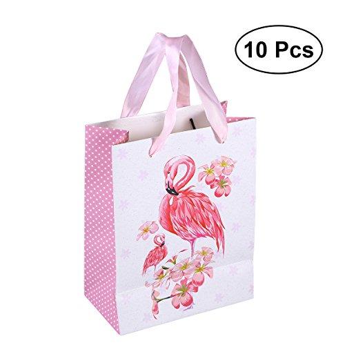 Amosfun 10PCS Geschenk Taschen Flamingo Premium Assortierte Geschenktüten mit Griff Hochzeit Weihnachten Valentinstag Dekoration 18x10x23CM