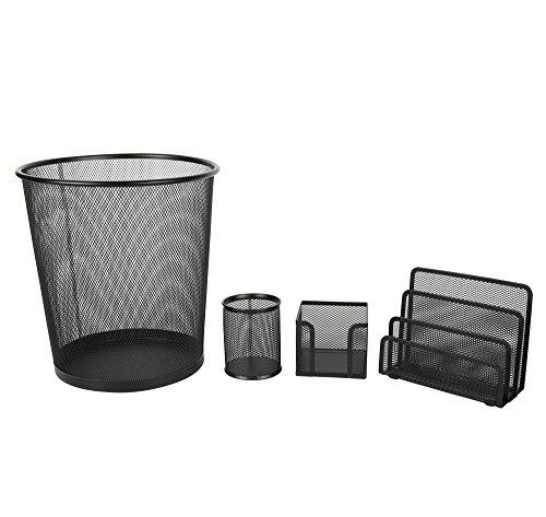 Exerz EX62035A Mesh-Büro-Set 4 Stück - gehören Mesh-Bin, Brief Regal/Halter/Rack, Memo-Halter, Stifthalter/Topf. Sleek und Anti-Scratch Design, geeignet für Büro, Home Office, Schule, Studie. -
