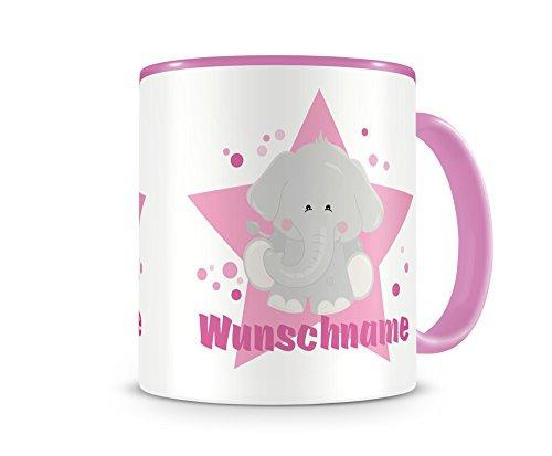mit Namen und einem süßen Elefanten als Motiv Bild Kaffeetasse Teetasse Becher Kakaotasse H:95mm/D:82mm Nr.49: rosa (Kinder-tee-tassen)