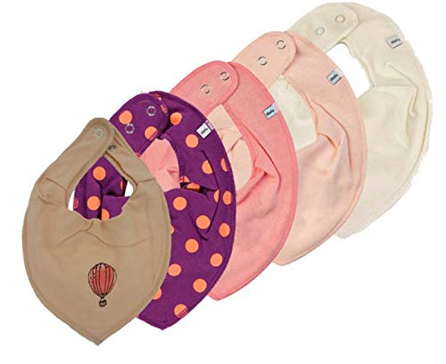 Pippi Pippi 4er Set ~ zur Auswahl ~ Baby Dreieckstuch Halstuch 4 Stück Organic Cotton + 1 GRATIS Tuch ~ 5er Pack (beere Dots-creme-lachs-apricot& Fesselballon)