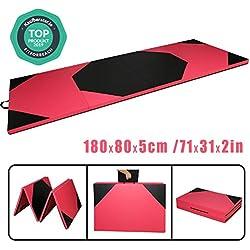 CCLIFE Colchoneta Plegable de Gimnasia Mat Colchoneta Yoga Colchoneta Deportiva Yoga estrilla 4 Pliegues 180/80/5 cm, Color:Negro y Rojo B