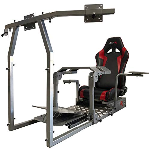 GTR Simulator - Modell GTA-Pro Racing Simulator Home Workstation Racing Cockpit mit echtem Rennsitz (schwarz w rot) und Racing Rig Control Halterungen für Fahren und Flugsimulator Gaming