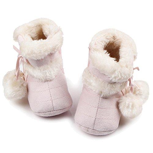 Gosear Neugeborenes Baby Winter Warme Weiche Baumwolle Schuhe Stiefel Weihnachten Stiefel Größe S für 0 bis 6 Monate Alte Babys Hell Khaki Pink