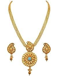 JFL - Traditional Ethnic One Gram Gold Plated Stones Designer Necklace Set For Women & Girls.