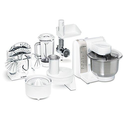 Bosch MUM4 MUM4880 Küchenmaschine (600 W, 3 Rührwerkzeuge aus Edelstahl, spülmaschinengeignet, Rührschüssel, max Teigmenge: 2,0kg, Durchlaufschnitzler, Mixeraufsatz, Fleischwolf, Zitruspresse) weiß