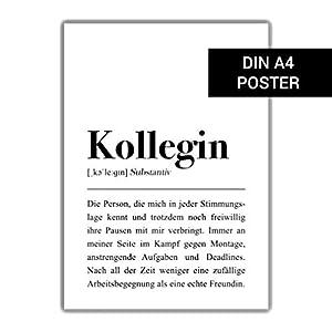 Kollegin Definition Plakat: DIN A4, Dankeschön Geschenk Kollege, Letzter Arbeitstag, Geschenk für Freundin, Abschied Kollegen Poster