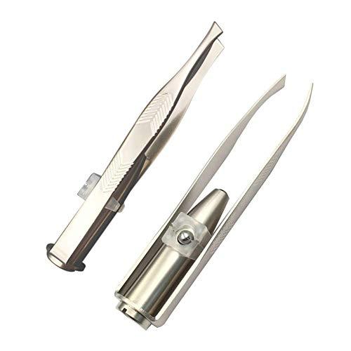 Jannyshop Silber Edelstahl Nickel Plating Augenbrauen Pinzette/Augenbrauen entfernen mit LED-Licht