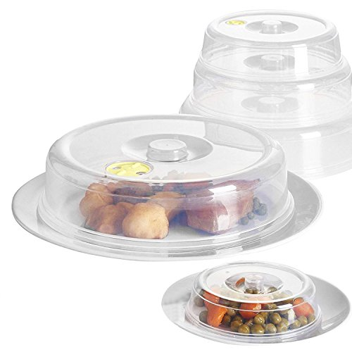 SET OF 5 VENTILATED MICROWAVE FOOD PLATE COVERS LIDS SPLATTER GUARD PLATE COVER (FUSION) (TM)
