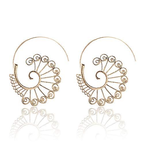 XAFXAL Ohrringe,Hohlen Spiral Ohrhänger Damen Tribal Gear Ohrhänger Blätter Blüte Baumeln Böhmen Schicke Runde Ohrringe